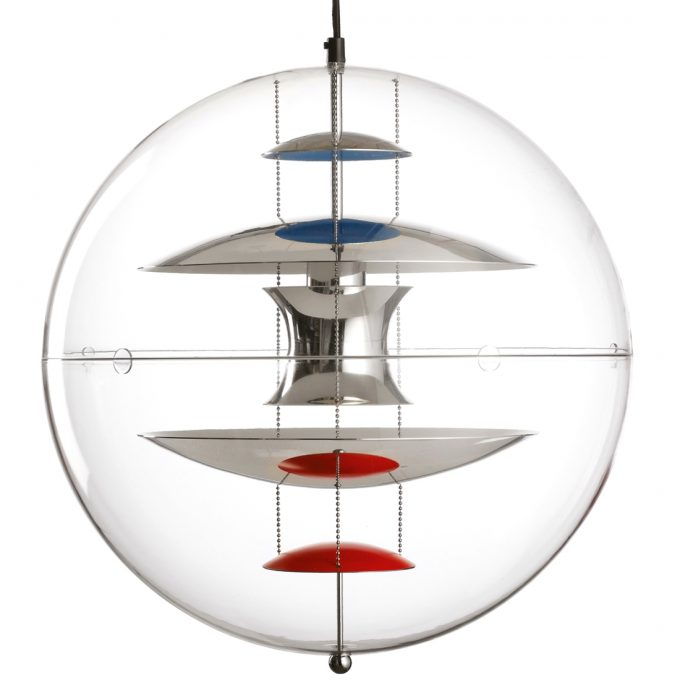The VP Globe pendant from the Danish designer Verner Panton. The pendant luminaire is built today by Verpan from Denmark.